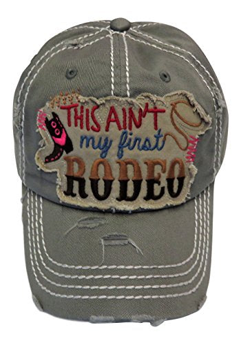 Embroidered This Ain't My First Rodeo Patch Vintage Baseball Cap Hat Western
