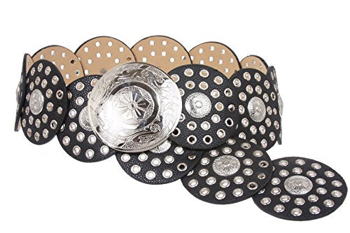 Wide Boho Disc Concho Leather Belt