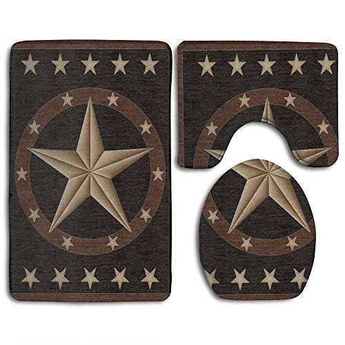 DING Western Texas Star Soft Comfort Flannel Bathroom Mats,Anti-Skid Absorbent Toilet Seat Cover Bath Mat Lid Cover,3pcs/Set Rugs