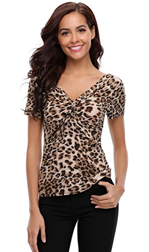MISS MOLY Leopard Tops Off The Shoulder Blouse V Neck Trendy Form Fitting Ruched Shirt with a Twist Knot