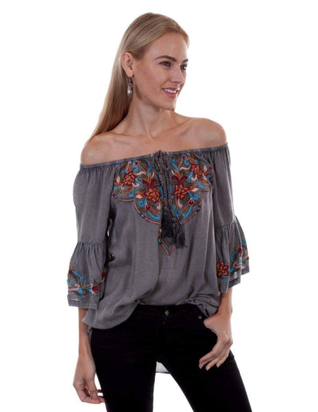 Scully Womens Docia Embroidered Top