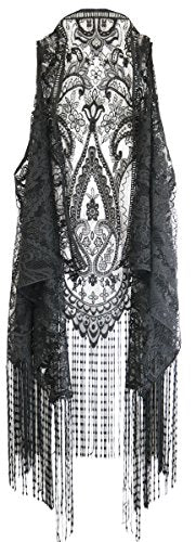 New Dimensions Black Lace Me Entertain You Women's One Size Polyester Fashion Vest