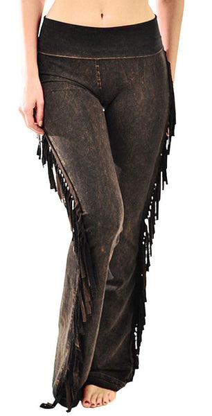 T Party Women's Fringe Leg Mineral Wash Yoga Pants