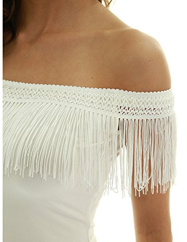 PattyBoutik Women Off Shoulder Lace Fringe Blouse