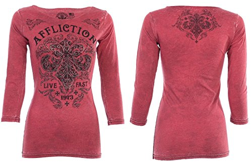 Affliction Womens LS T-Shirt Dark Consequences Biker Rhinestones Sinful UFC