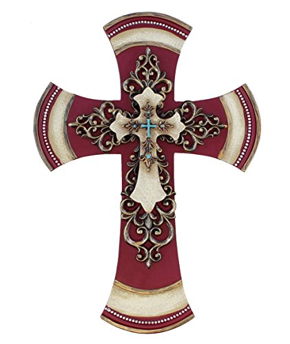 "11 1/2"" Decorative Layered Tuscan Wall Cross Scrolly Fleur De Lis - Burgundy"