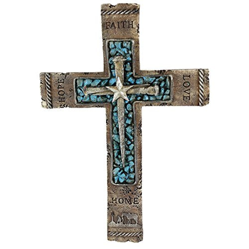Pine Ridge Western Wall Cross Rustic Cowboy Praying Crucifix with Faith, Hope, Love and Home Turquoise Center with Nails & Star Centerpiece