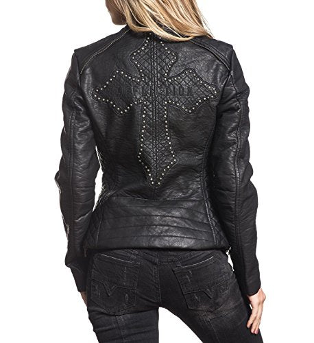 Black Water PU Leather Jacket By Affliction