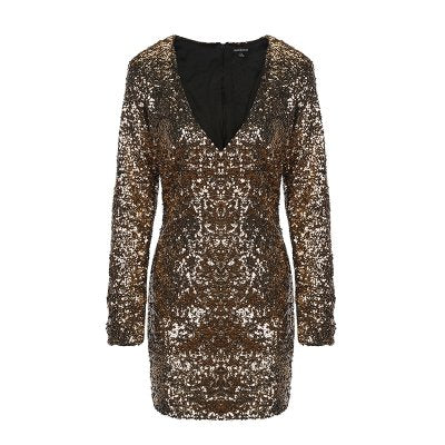 HaoDuoYi Women's Golden Sequin Deep V Neck Zipper Bodycon Mini Pencil Dress