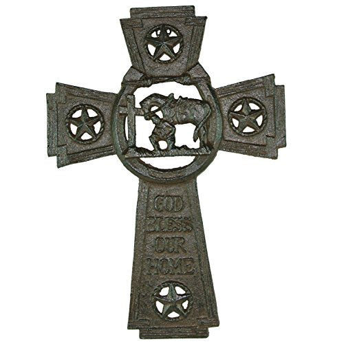 Cast Iron God Bless Our Home Wall Cross with Praying Cowboy