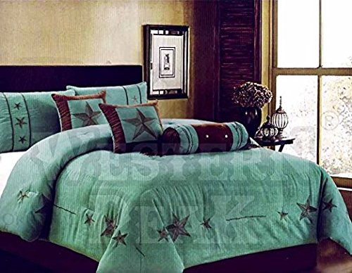 Western Peak Oversize Embroidery Texas Western Star Micro Suede Turquoise Brown Comforter Bedding Suede 7 Pieces Set (Queen)