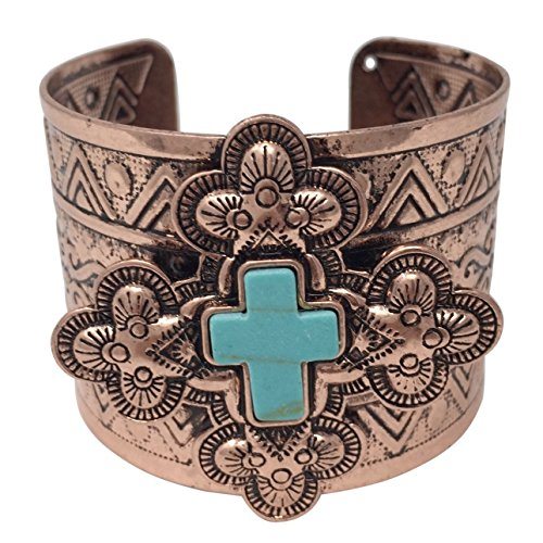 Gypsy Jewels Simulated Turquoise Western Style Silver Tone Wide Cuff Bracelet