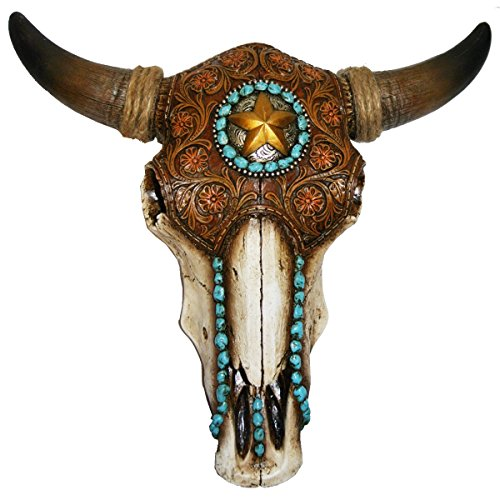 LL Home 12699 Bull Skull Tooled Leather Home Decor