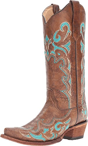 Corral Circle G Women's Turquoise-Embroidered Distressed Brown Leather Cowgirl Boots