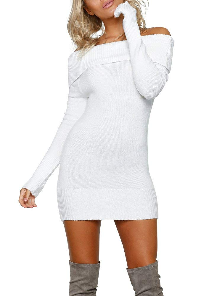 Simplee Apparel Women's Long Sleeve Off Shoulder Knitted Sweater Dress