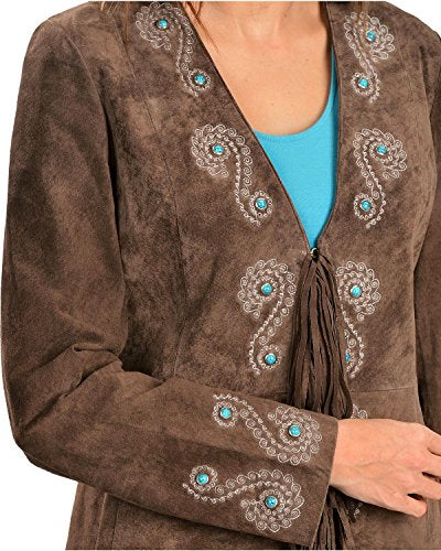 Scully Women's Embroidered Fringe Long Suede Leather Jacket - L165-19