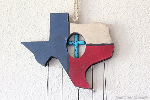 "Colors of Rainbow Texas Western Cowboy Texas Map Turquoise Cross Wind Chime 32"" L"
