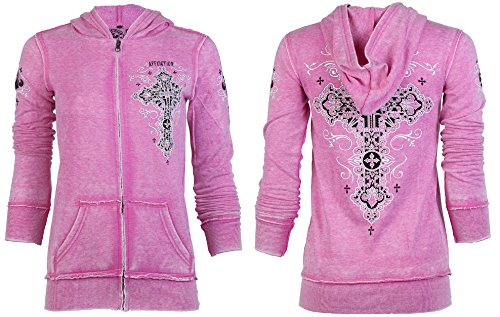 Affliction Women Hoodie Sweat Shirt Jacket Paradigm Biker Rhinestones Sinful
