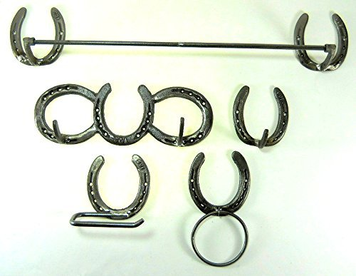 Horseshoe Bath Accessory Set in Natural Iron w/token