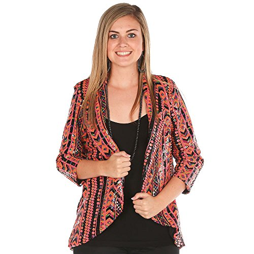 Wrangler Rock 47 Women's Allover Sequin Printed Blazer - Orange and Black