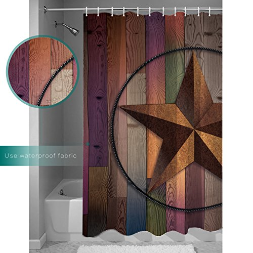Customize Waterproof Shower Curtains Western Texas Star On Multicolor Wood Barn Print Retro Home Decor Collections 72x72Inches