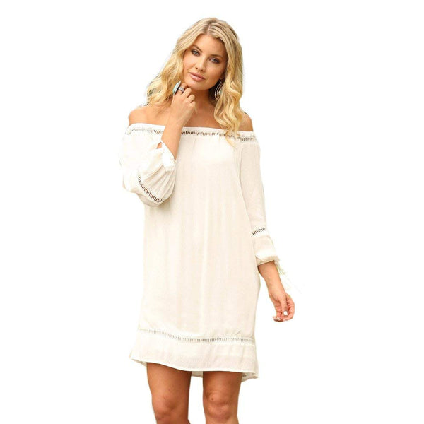Wrangler Women's Ivory Lace Insert Shift Dress - Lwd621n
