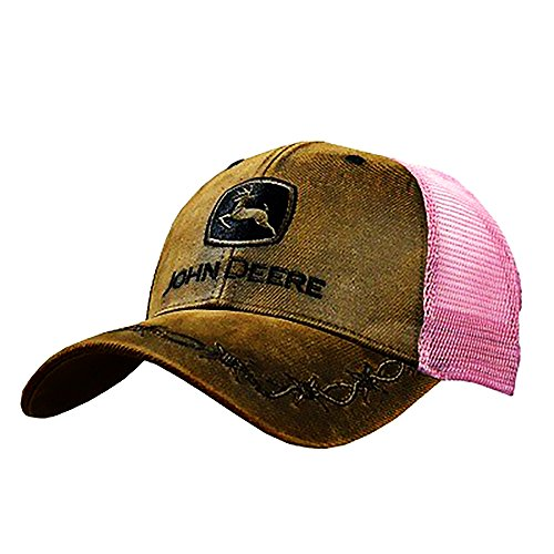 John Deere Oilskin Mesh Back Embroidered Hat, Pink