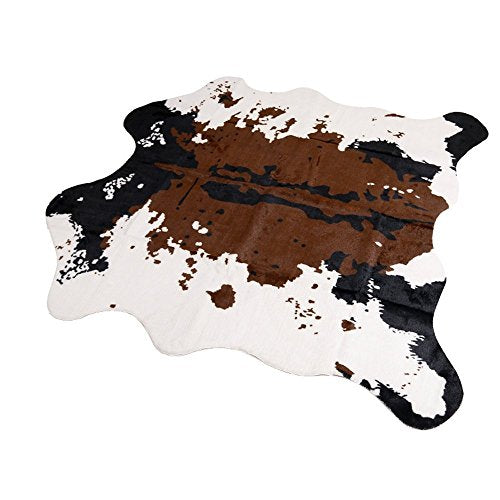 "Brown Cow Print Rug 55.1""Wx62.9""L Faux Cowhide Rugs Cute Animal Printed Carpet For Home"