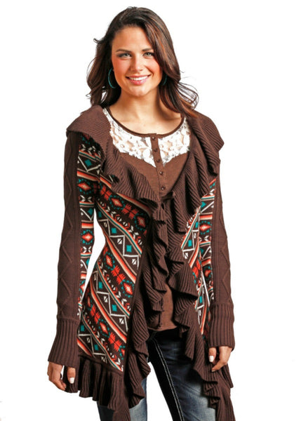 POWDER RIVER OUTFITTER Ruffled Aztec Cardigan