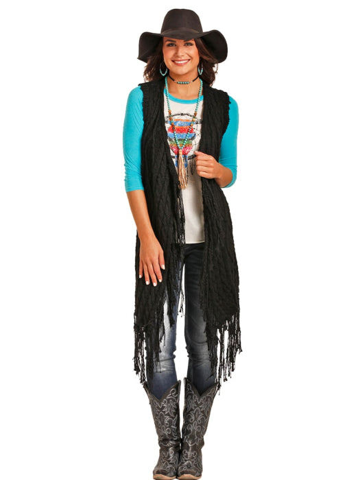 POWDER RIVER OUTFITTER Fringe Cable Knit Sweater Vest