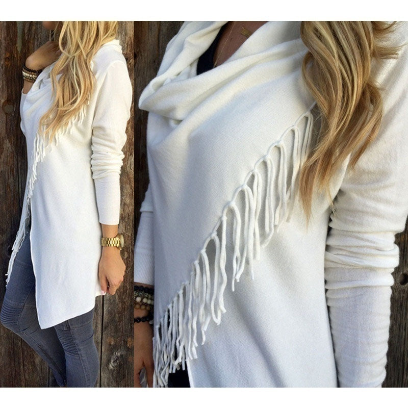 Woman's Fashion Irregular Collar Tassels Decor Knitted Blouse Stylish Loose Sweater Coat