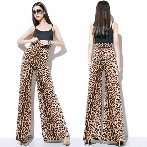 New Ladies Plus Size Flared Baggy Trousers Wide Leg Printed Pants