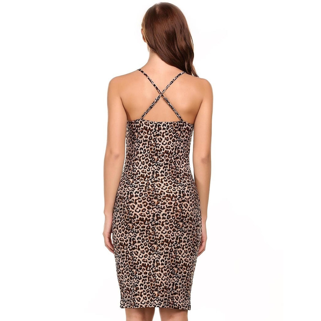 Women Sexy O-Neck Sleeveless Strap Leopard Slim Midi Dress