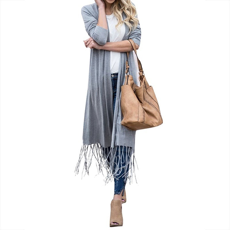 Womens Cardigans Open Front Fall Duster Drape Long Maxi Cardigan with Fringe