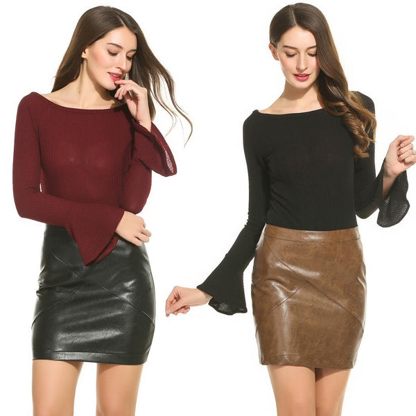Women Classic High Waisted Faux Leather Slim Mini Pencil Skirt