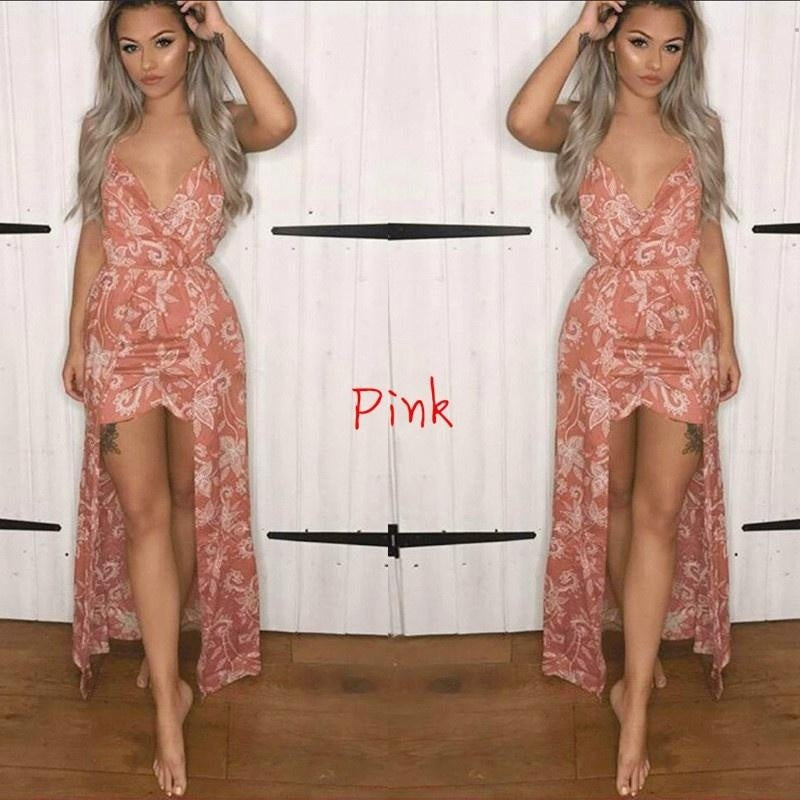 Summer Romper for Women Spaghetti Strap Sleeveless Jumpsuits Shorts Sexy V-neck Floral Print Maxi Long Dress