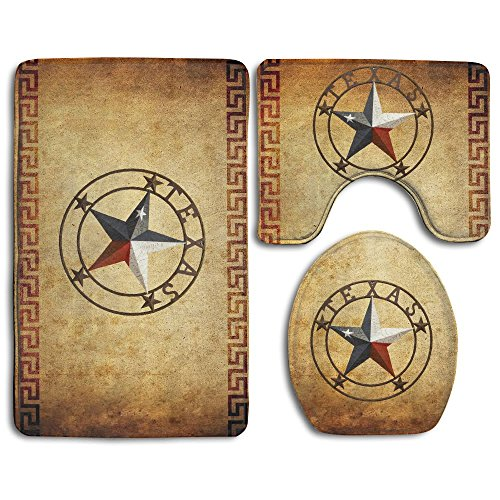 DING Western Texas Star Soft Comfort Flannel Bathroom Mats,Non-Slip Absorbent Toilet Seat Cover Bath Mat Lid Cover,3pcs/Set Rugs