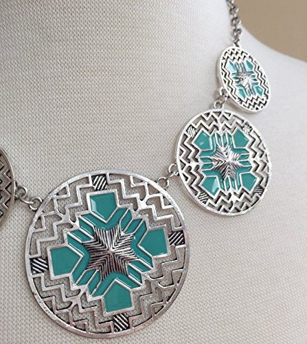 Aztec 5 Disk Cutout Southwestern Look Silver Tone Boutique Style Necklace Earrings Set