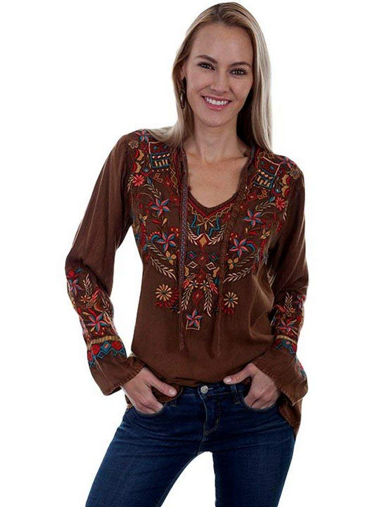 Scully Womens Bennington Boho Embroidered Fun Blouse