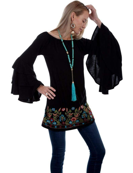 Scully Womens Batya Beautiful Triple Tier Sleeve Embroidered Tunic