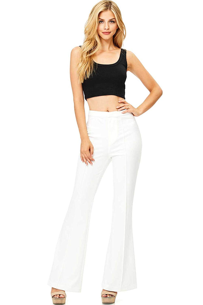 Jealous Tomato Women's High Waisted Flare Bottom Pants
