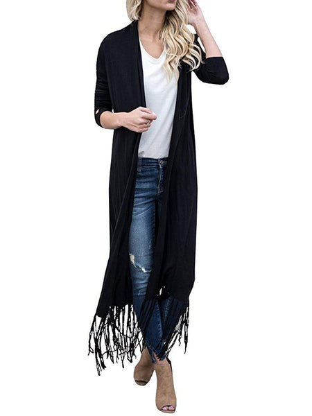 Farktop Women's Long Sleeve Open Front Tassel Hem Knit Draped Loose Lightweight Maxi Cardigan Plus Size