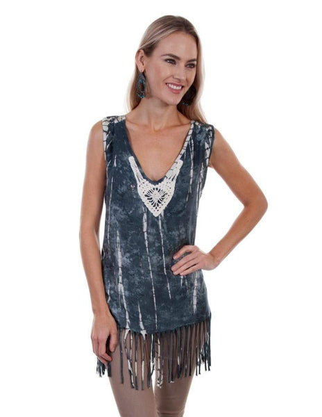 Scully Western Shirt Womens Crochet Tie Dyed Tank V Neck HC362