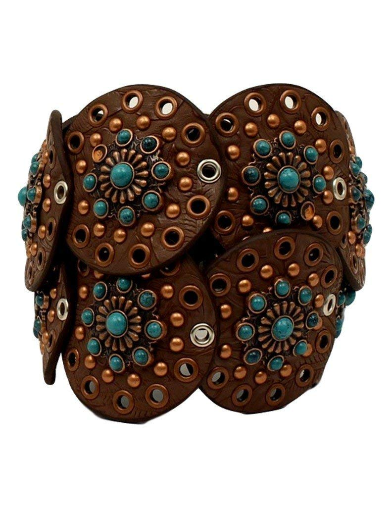Nocona Women's Wide Floral Discs Belt