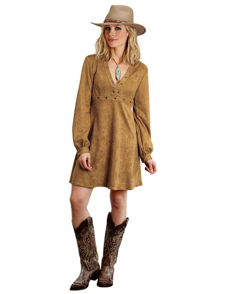 Stetson Womens 1463 Long Sleeve Fuax Suede Dress with Grommet