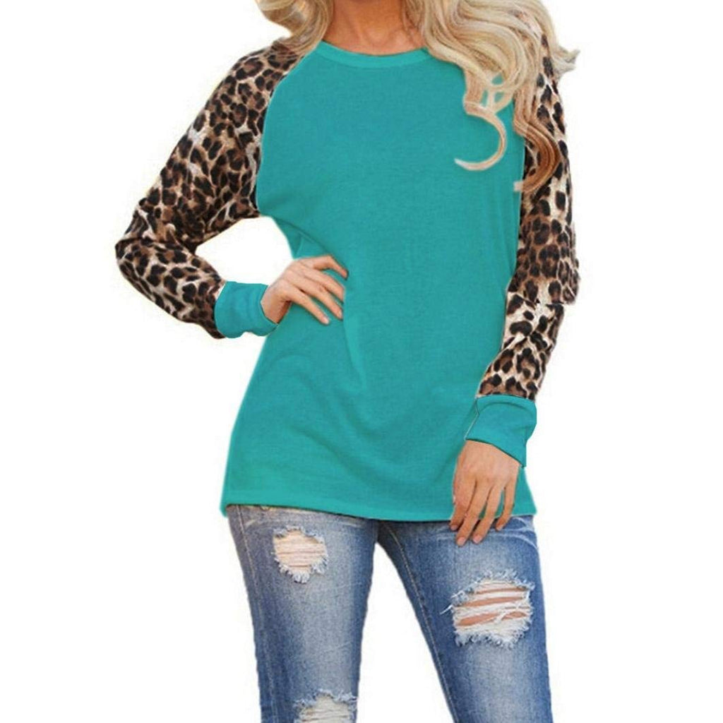 Usstore For Women Top Casual Leopard Pullover O Neck Prints Shirt T-Shirt Blouse