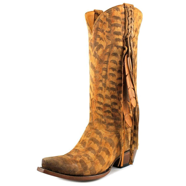 Lucchese Women's Tori Hand Tooled Feather Cowgirl Boot Snip Toe - M5105