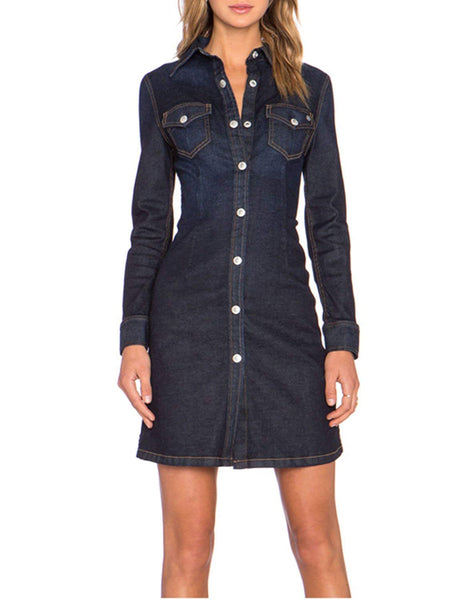 HaoDuoYi Womens Boyfriend Denim Button Down Shirt Dress