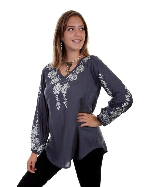 Scully Womens Cleo Embroidered Top