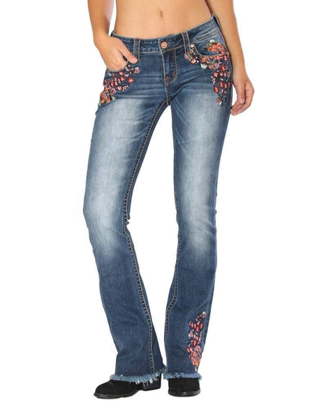 Grace In LA Western Romance Floral Slim Fit Jean